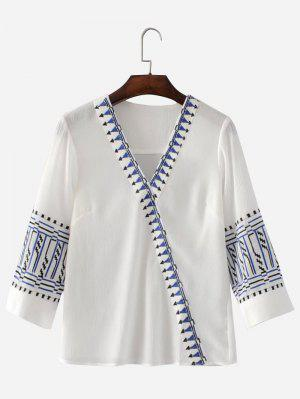 Blusa Bordada Em V Neck - Branco M