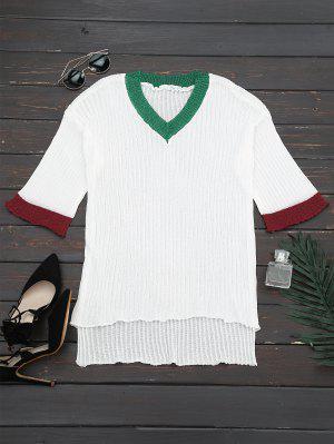 V Neck Drop Shoulder Knitted Top - White