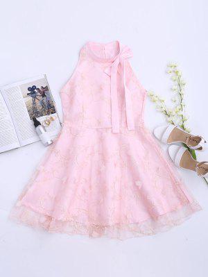 Mesh Panel Bowknot Embellished Flare Dress - Pink M