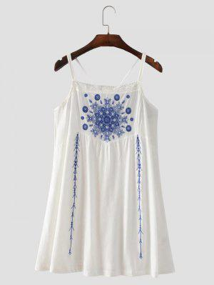 Vestido Con Tirante Fino Con Tira Cruzada Con Bordado Floral - Blanco S