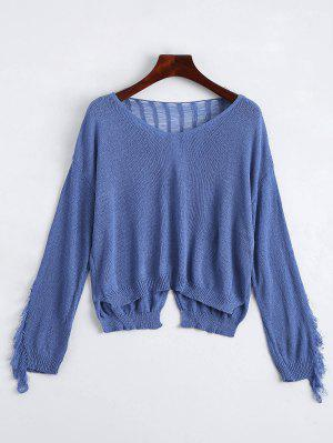 V Neck Ripped Long Sleeve Knitted Top - Stone Blue