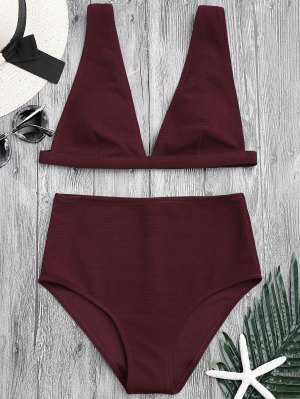 Textured Plunge High Waisted Bikini Set - Burgundy L
