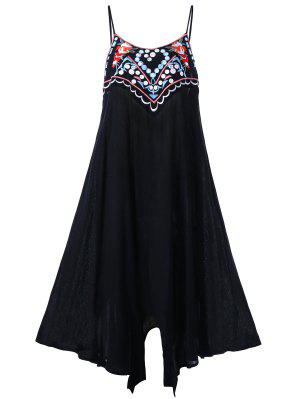 Plus Size Embroidery Slip Summer Dress - Black 5xl