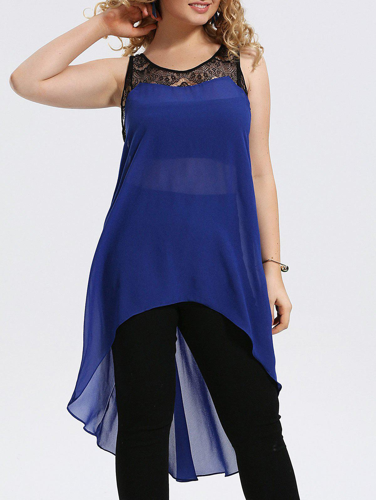 Plus Size Lace Trim Chiffon High Low Tank Top 216253601