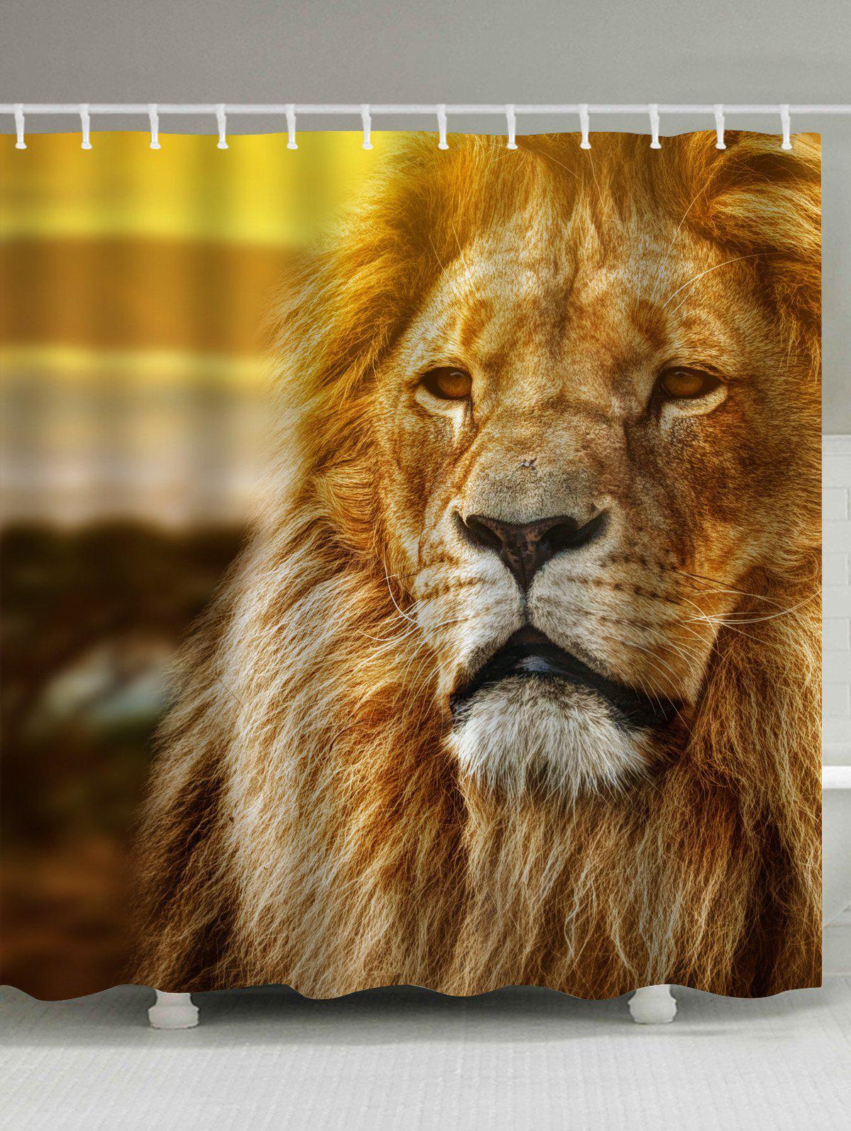 Eco Friendly Lion Print Fabric Shower Curtain
