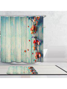 Rideau De Douche Impermeable Motif Fleurs Sur Planches En Bois Style