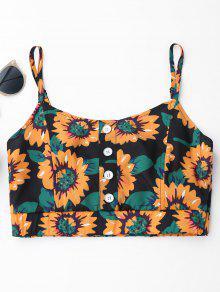 Button Up Sunflower Crop Top - Black