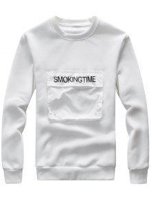 طاقم الرقبة جيب جيب الجرافيك طباعة الصوف البلوز - أبيض 2xl