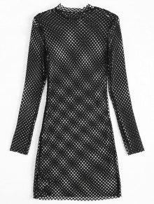 Long Sleeve Sheer Bodycon Dress - Black S
