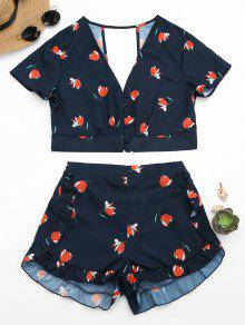 Floral Button Up Top And Ruffles High Waisted Shorts - Purplish Blue M