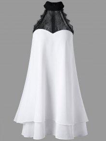 فستان سوينغ بلا أكمام مستقيم عالية الرقبة - أبيض L