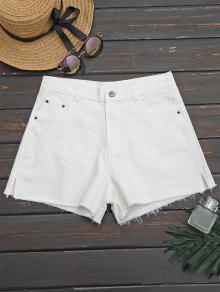 Shorts Denim Coupe Coupure Latérale - Blanc 34