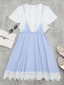 Lace Panel Striped Faux Twin Set Dress - Light Blue M