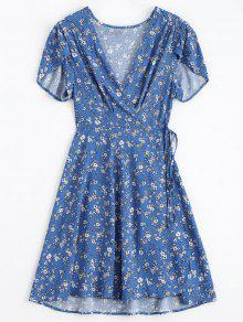 فستان مصغر غارق الرقبة لف - أزرق M