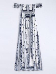 Off Shoulder Smocked Printed Front Slit Maxi Dress - White S