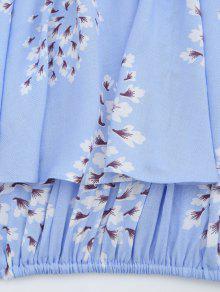 Flor De Azul La De Superpuesta Hombro Claro L De Recubrimiento Blusa 1n1rYwqA
