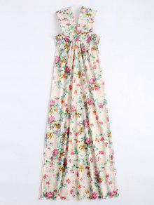 Off Shoulder Side Slit Smocked Floral Maxi Dress - Floral M