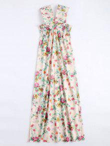 Vestido Maxi Decotado Floral Com Corte - Floral L