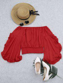 Ruffled Off Shoulder Smocked Blouse - Red M