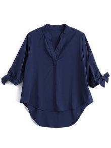 Bow Tie Sleeve High Low Shirt - Purplish Blue