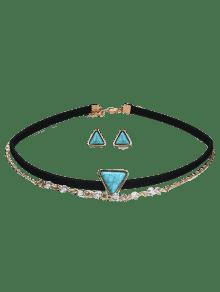 Faux Turquoise Earring And Choker Necklace Set - Black