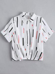 Button Down Vertical Print Top - White