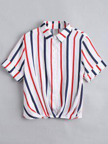 Button Down Loose Stripes Shirt - Red