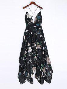 Cami Cross Back Floral Maxi Handkerchief Dress - Black M