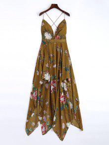 Cami Cross Back Floral Maxi Handkerchief Dress - Marrom L