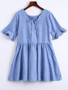 Ruffle Hem Checked Bowtie Dress - Light Blue M