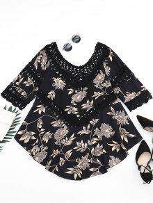 Floral Print Crochet Panel Asymmetric Blouse - Black