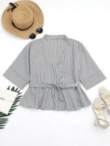 Plunging Neck Belted Striped Blouse - Stripe M
