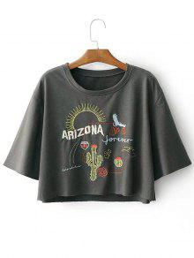 Drop Shoulder Letter Cacti Patched Tee - Gray S