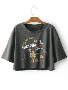 T-shirt à Motif Cactus Et Lettre Épaule Tombante - Gris L