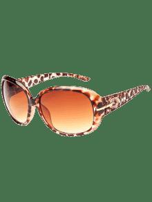 حجر الراين الديكور أوف حماية النظارات الشمسية - ليوبارد + بني داكن