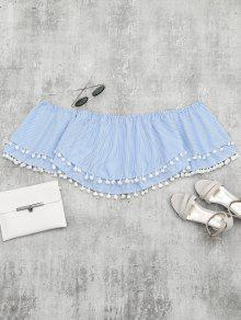 Claro Con Rayas Rayas Y Blusa De Azul Embellecidas M Corte RwHqHpng8