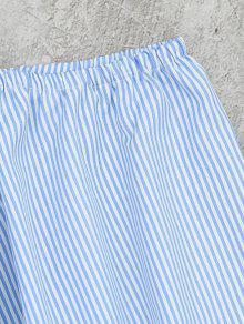 Blusa Y Embellecidas Corte Con Rayas De M Claro Rayas Azul aa4r6