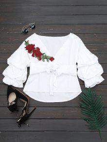طباعة الأزهار مربوط V بلوزة الرقبة - أبيض L