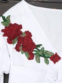 Blanco 243;n Con Cintur Con Xl Floral V Blusa Cuello En H8Axqaw