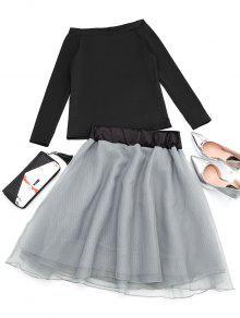 Falda La De Camiseta Y Negro Hombro De BXfxafqwO
