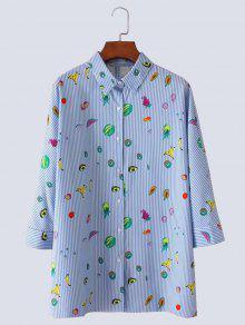 Fruit Print Button Up Slit Striped Shirt - Light Blue M
