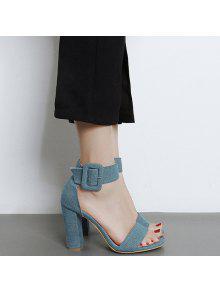 Denim Ankle Strap Block Heel Sandals - Blue 38