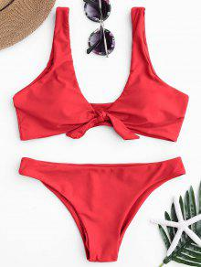 Knotted Scoop Bikini Top Y Partes Inferiores - Rojo L