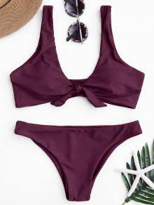 Knotted Scoop Bikini Top Y Partes Inferiores - Merlot S
