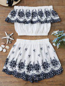 Off Shoulder Embroidered Crop Top With Shorts - White L
