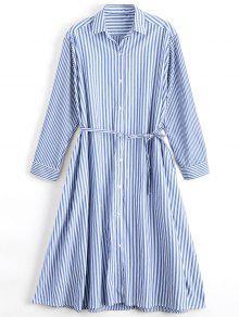 Long Sleeve Belted Stripes Shirt Dress - Stripe L