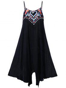زائد حجم التطريز زلة اللباس الصيف - أسود Xl