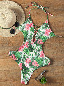 Halter Floral Criss Cross Swimwear - L