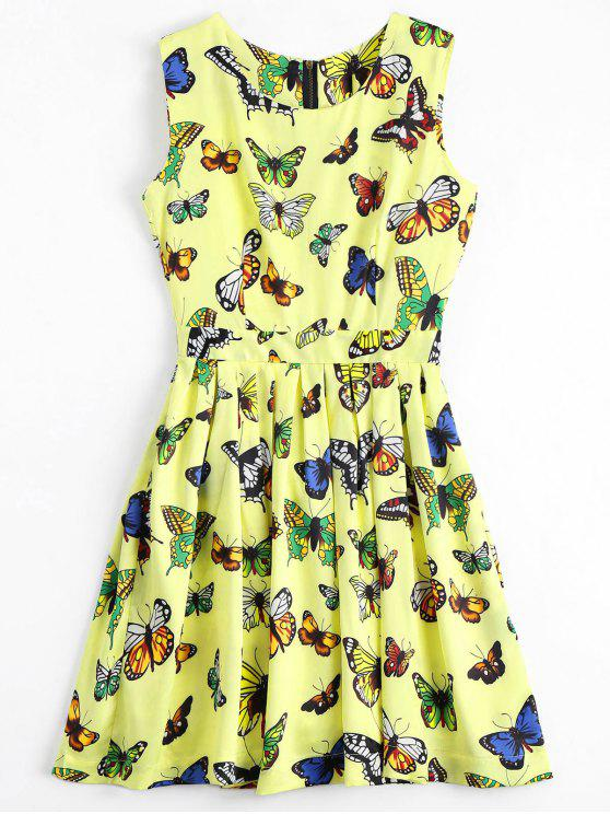Back Zipper Butterfly Graphic Mini Dress - Jaune S