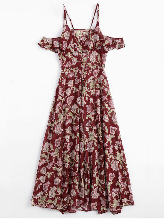 unique Floral Ruffles Cold Shoulder Maxi Dress - FLORAL M